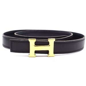 18mm Gold H Size 70 Reversible Leather Belt